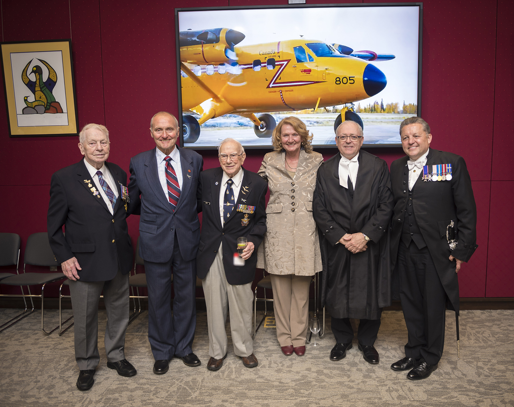 On June 4, 2019, during Air Force Day on The Hill in Ottawa, Ontario, joined Parliamentarians and members of the Royal Canadian Air Force for Air Force Day on Parliament Hill. From left: D-Day veteran Bob Bradley; Senator Joseph Day; D-Day veteran Ronald Moyes; Member of Parliament Karen McCrimmon; The Honourable George J. Furey, Speaker of the Senate of Canada; and J. Greg Peters, Usher of the Black Rod. PHOTO: Corporal Desiree T. Bourdon, FA01-2019-0026-021
