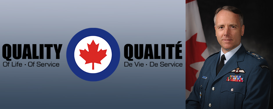 "A montage of a photo of a man wearing a military uniform beside a graphic with an RCAF roundel and the words ""Quality of Life—Quality of Service"" and ""Qualité de vie—Qualité de service""."