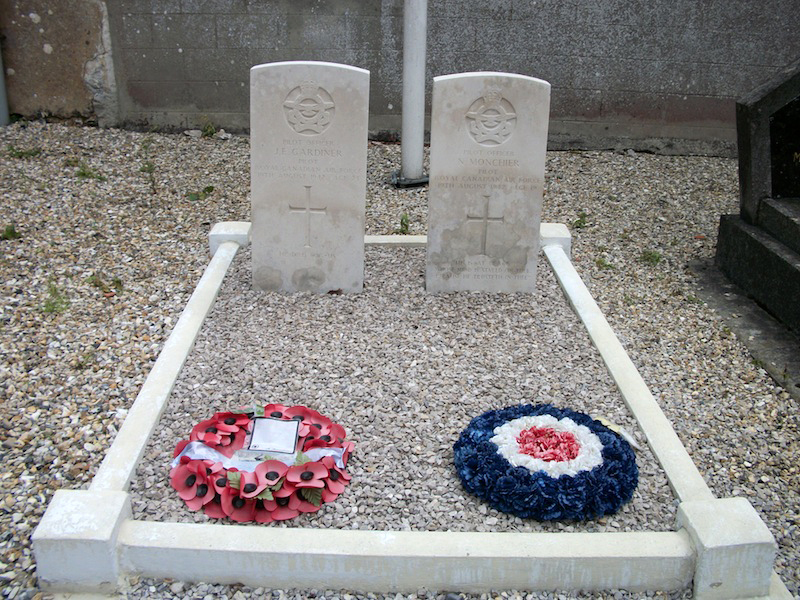 Pilot Officer Norman Monchier (right grave) and Pilot Officer John Gardiner, who died when their Spitfires collided during Operation Jubilee, are buried side-by-side in St. Aubin-le-Cauf churchyard, located about nine kilometres from Dieppe, France. PHOTO: Via Canadian Virtual War Memorial