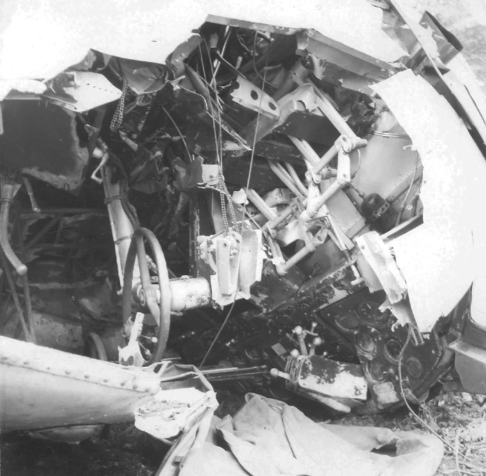 The upside-down cockpit of the crashed Delta 673 PHOTO: Courtesy of Pat Donaghty, RCAF retired