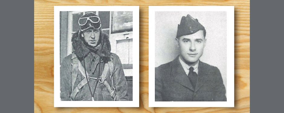 "slide - A montage of two head-and-shoulders photos of men, one wearing military flying clothes and the other wearing a jacket, tie, and ""wedge cap""."