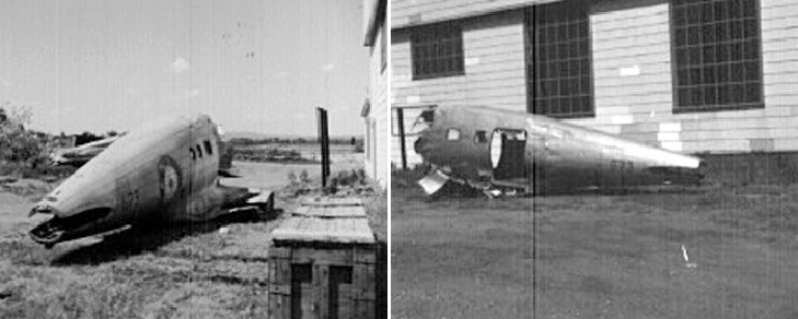 Two photographs of the rear fuselage of Delta 673 after it was airlifted from the New Brunswick bush in 1969 to what is now the Canadian Aviation and Space Museum in Ottawa. PHOTOS: Courtesy of the Canada Aviation and Space Museum