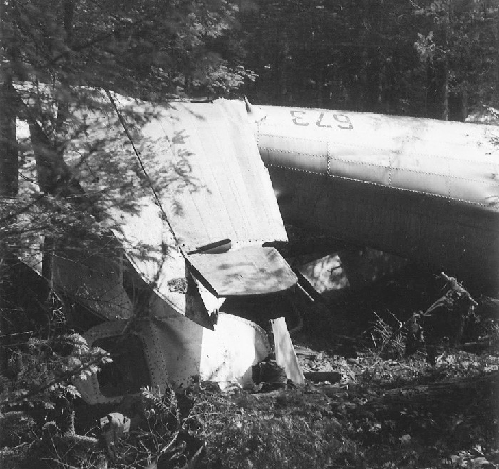 The rear fuselage and empennage [the tail of an aircraft, including the stabilizing surfaces], were not severely damaged, but collapsed following impact. PHOTO: Courtesy of Pat Donaghty, RCAF retired