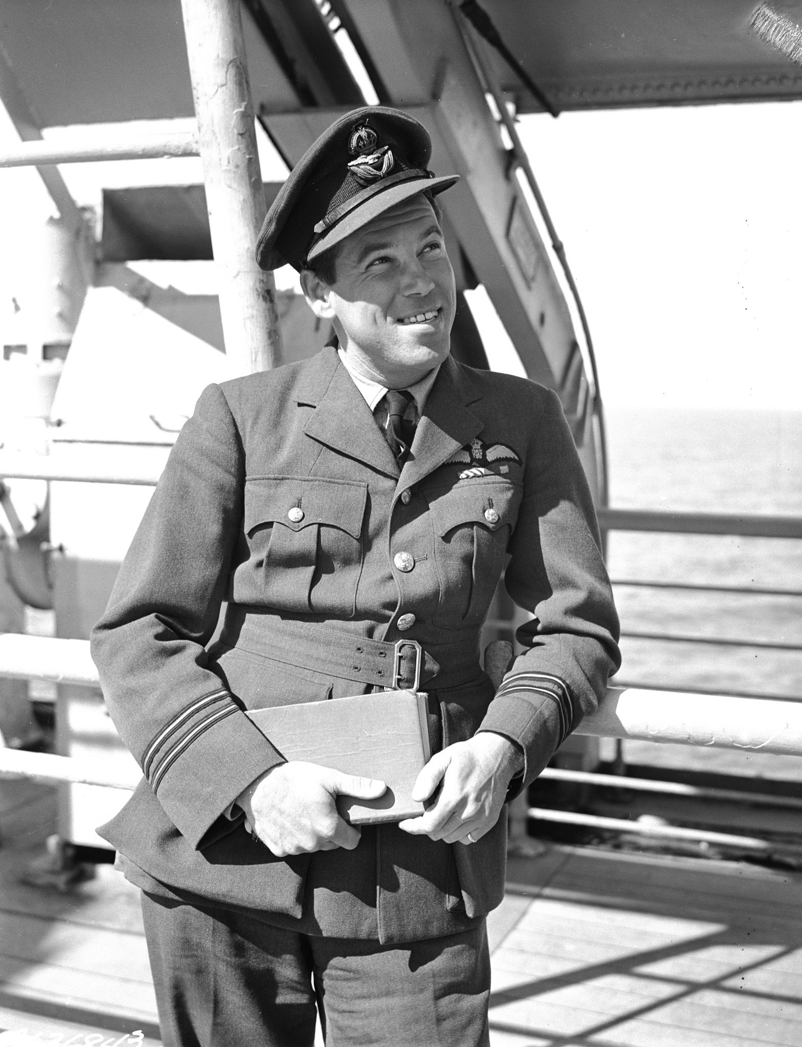 "Flight Lieutenant Alfred Keith ""Skeets"" Ogilvie, DFC, a Canadian serving in the RAF, is shown shortly after returning home in June 1945. Flight Lieutenant Ogilvie had been held as a prisoner of war since July 4, 1941. PHOTO: DND Archives, PL-36843"