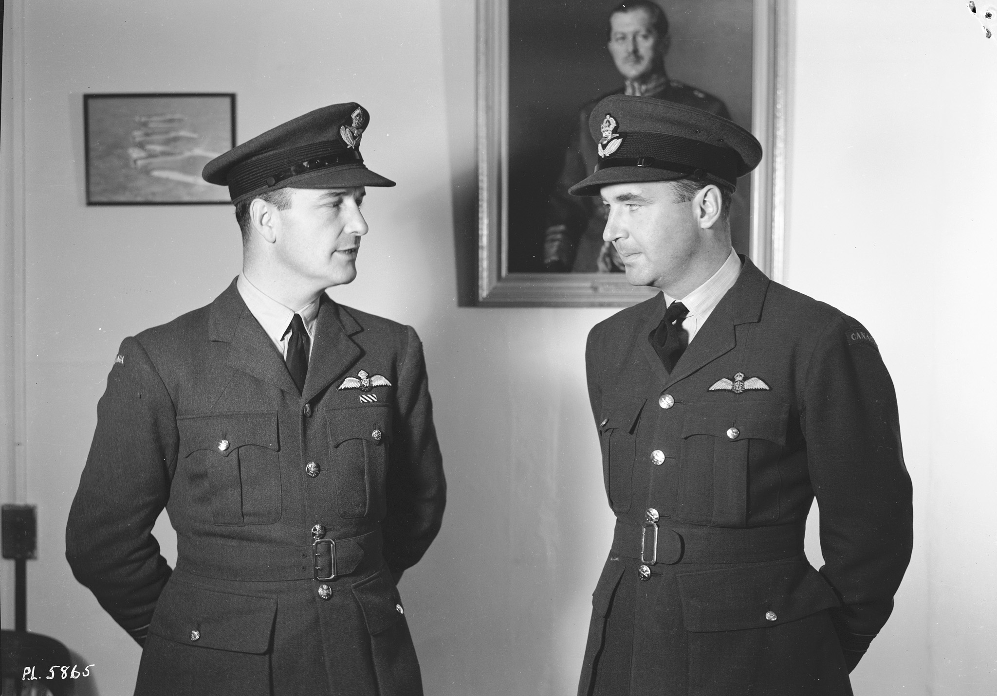 A September 19, 1941, photo of Wing Commander Gordon Roy McGregor and Squadron Leader A. Deane Nesbitt. Both were pilots during the Battle of Britain. McGregor became the first RCAF commander of a wing when he helped form the Digby Wing in April 1941; Nesbitt commanded 144 Wing from May to July 1944 and 143 Wing from January to September 1945. PHOTO: DND Archives, PL-5865