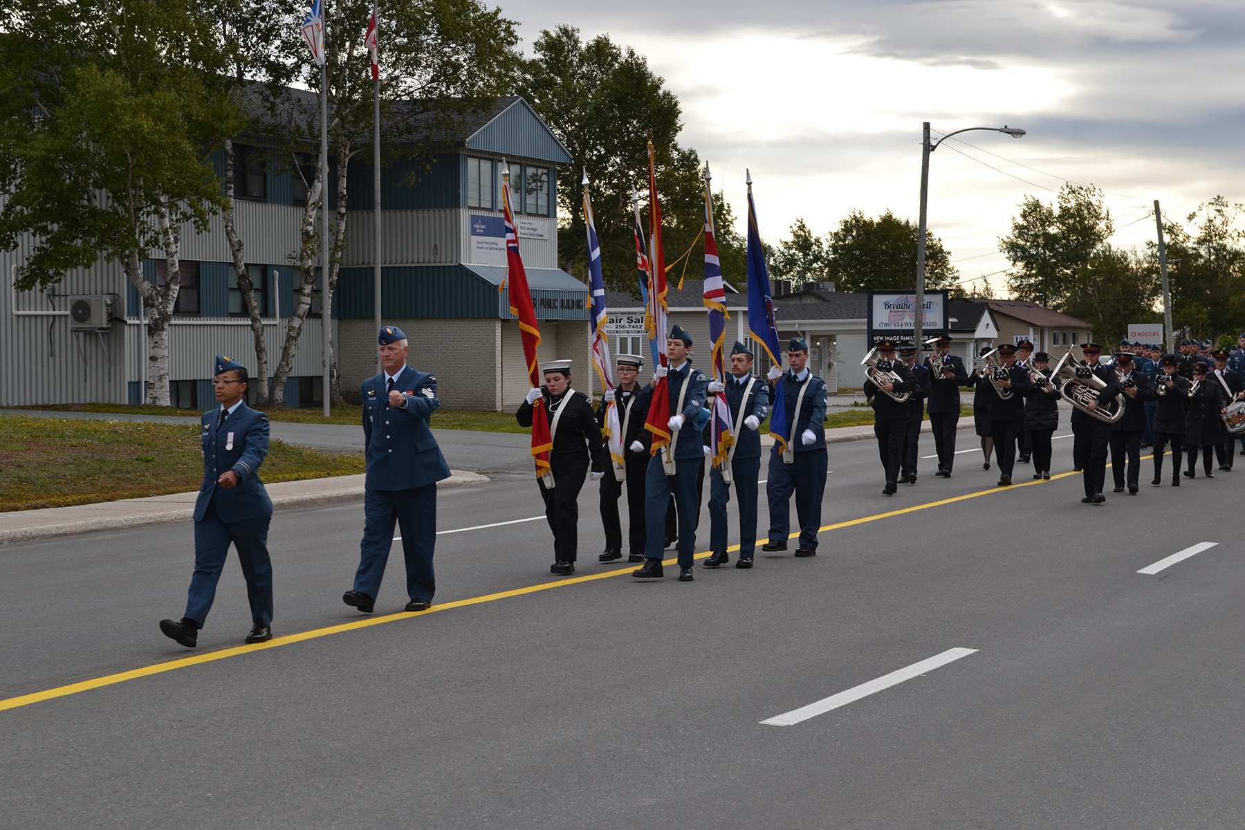 RCAF personnel, air and sea cadets and the Salvation Army Band march during the parade marking the 79th anniversary of the Battle of Britain in Gander, Newfoundland and Labrador, on September 15, 2019. PHOTO: 9 Wing Gander