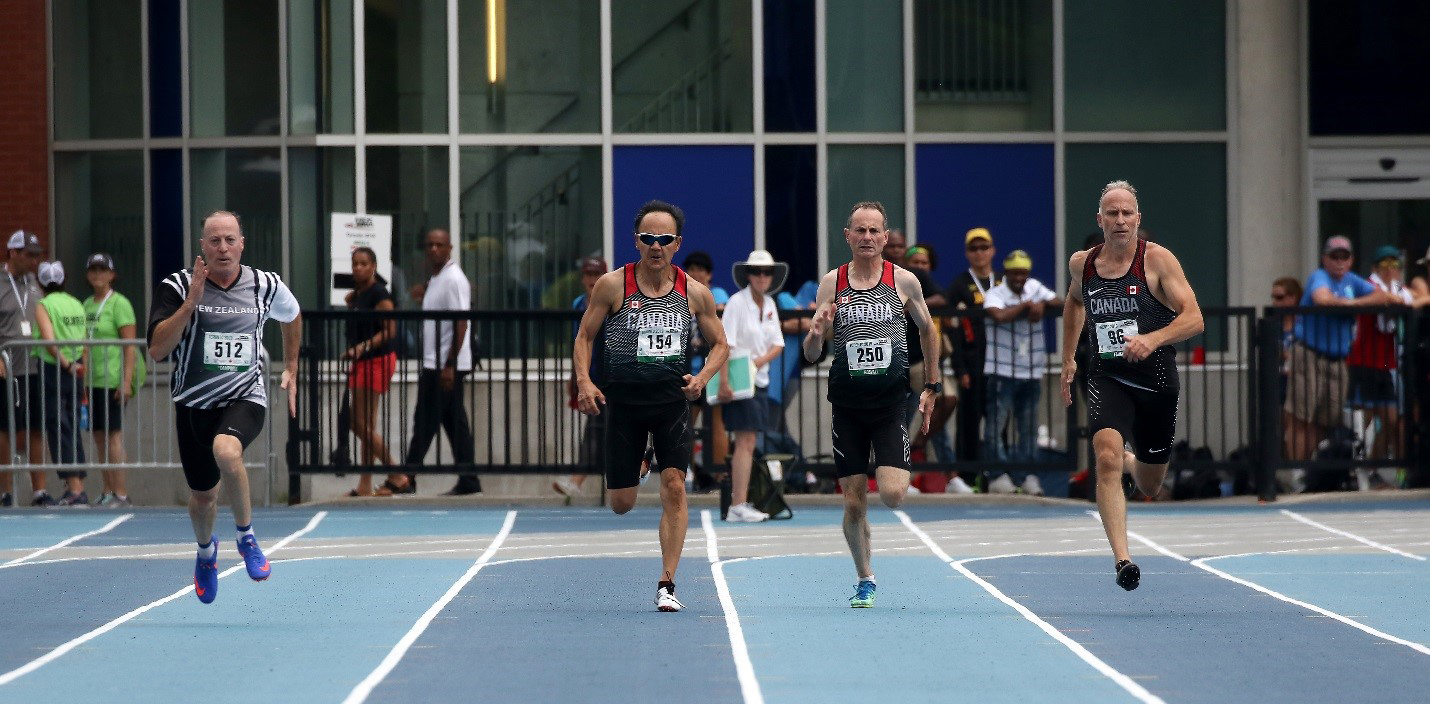 During the North, Central America and Caribbean Region of World Masters Athletics (NCCWMA) Championships held in Toronto, Ontario, in July 2019, the RCAF's Major Serge Faucher (right) competes in a tight qualification round (M55), where he ultimately finished 2nd in 25.47 seconds. He advanced to the finals, where he won a bronze medal. PHOTO: Submitted