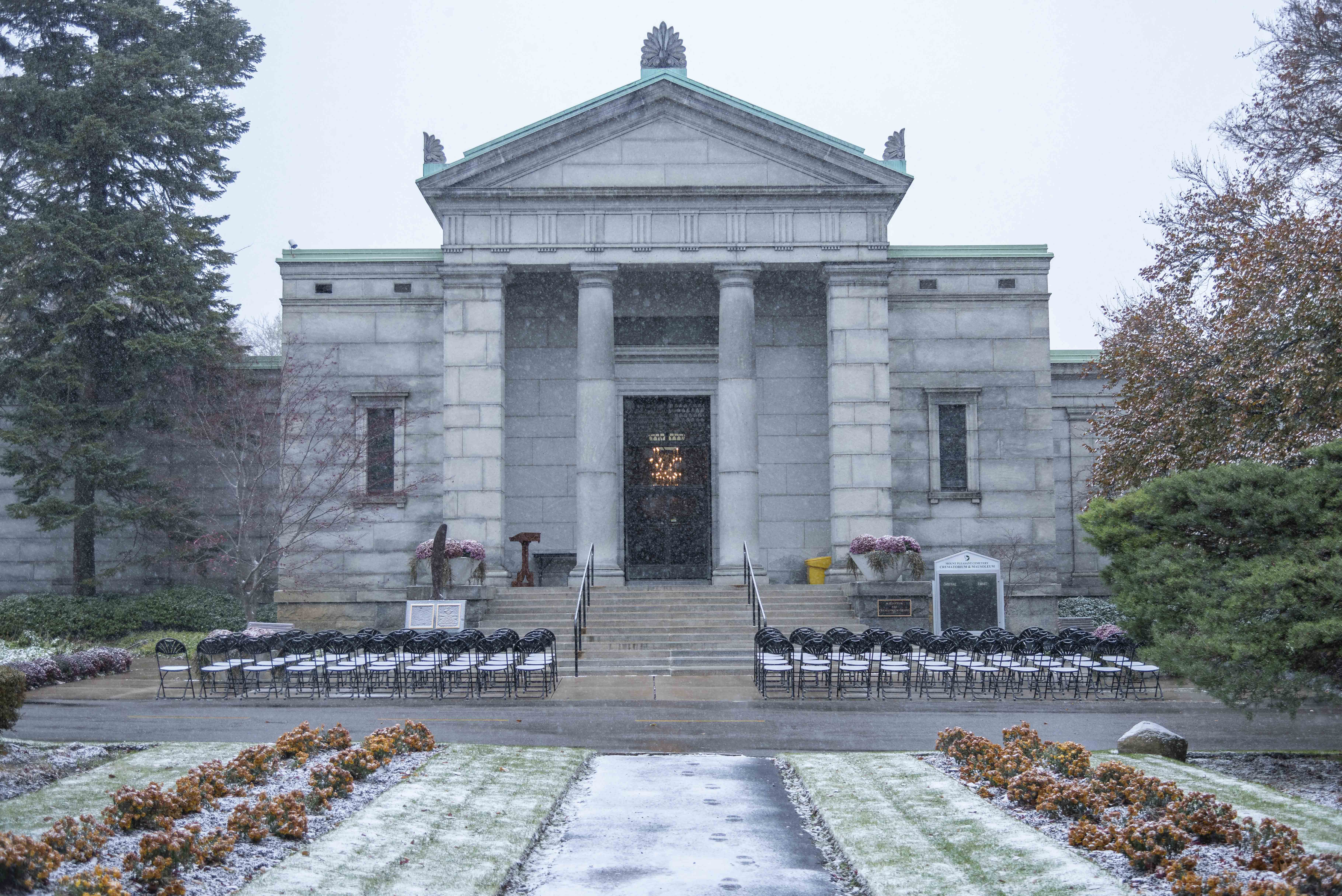 All is in readiness for the 2019 Remembrance Day ceremony in front of the mausoleum at Mount Pleasant Cemetery, Toronto, where Wing Commander William Barker, VC, is interred. PHOTO: Corporal Lynette Ai Dang, BM10-2019-0359-001