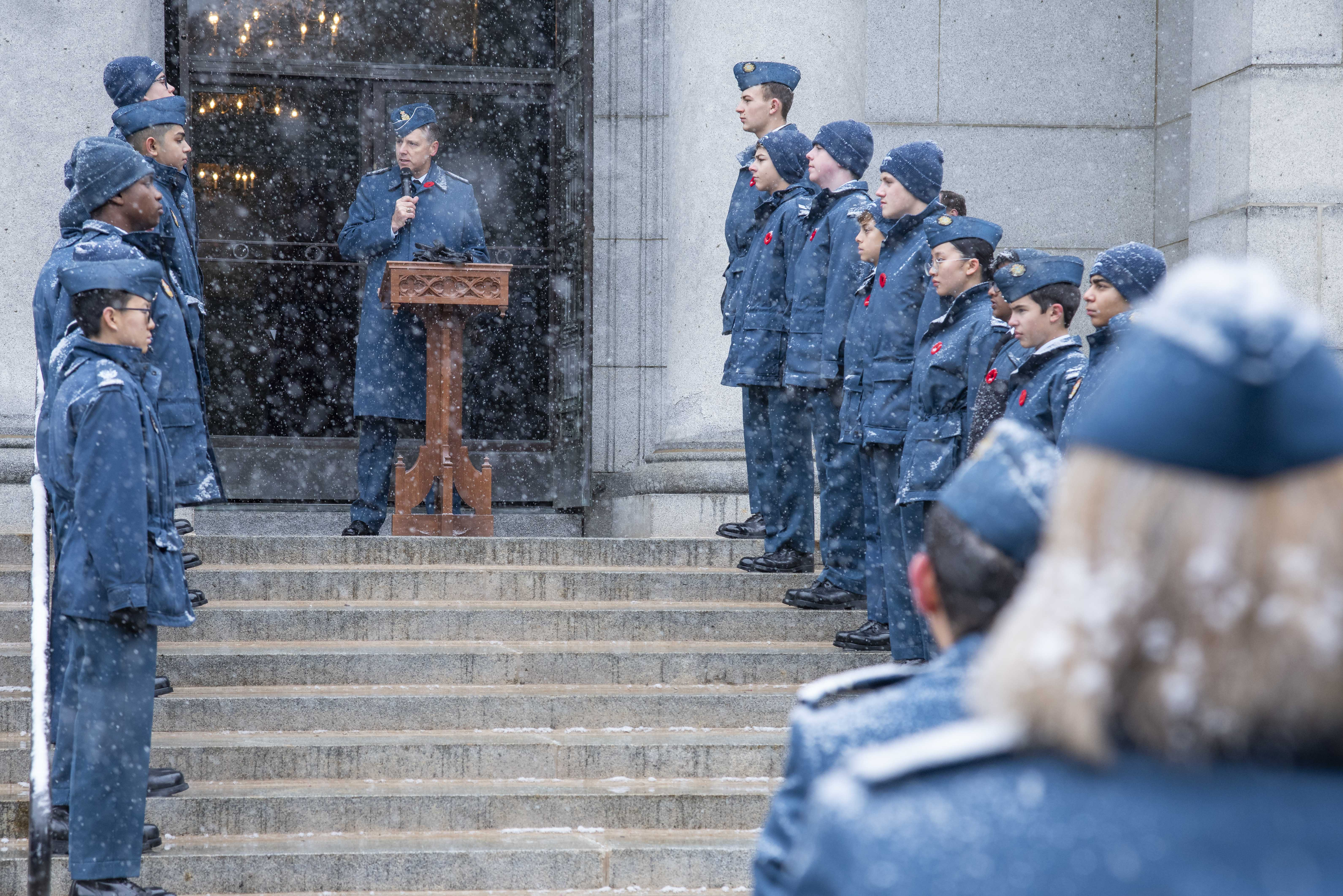 Lieutenant General Al Meinzinger, commander of the Royal Canadian Air Force, speaks during the 2019 Remembrance Day ceremony held at the mausoleum where Wing Commander William Barker, VC, is interred in Mount Pleasant Cemetery, Toronto. Royal Canadian Air Cadets line the steps leading up to the mausoleum. PHOTO: Corporal Lynette Ai Dang, BM10-2019-0359-016