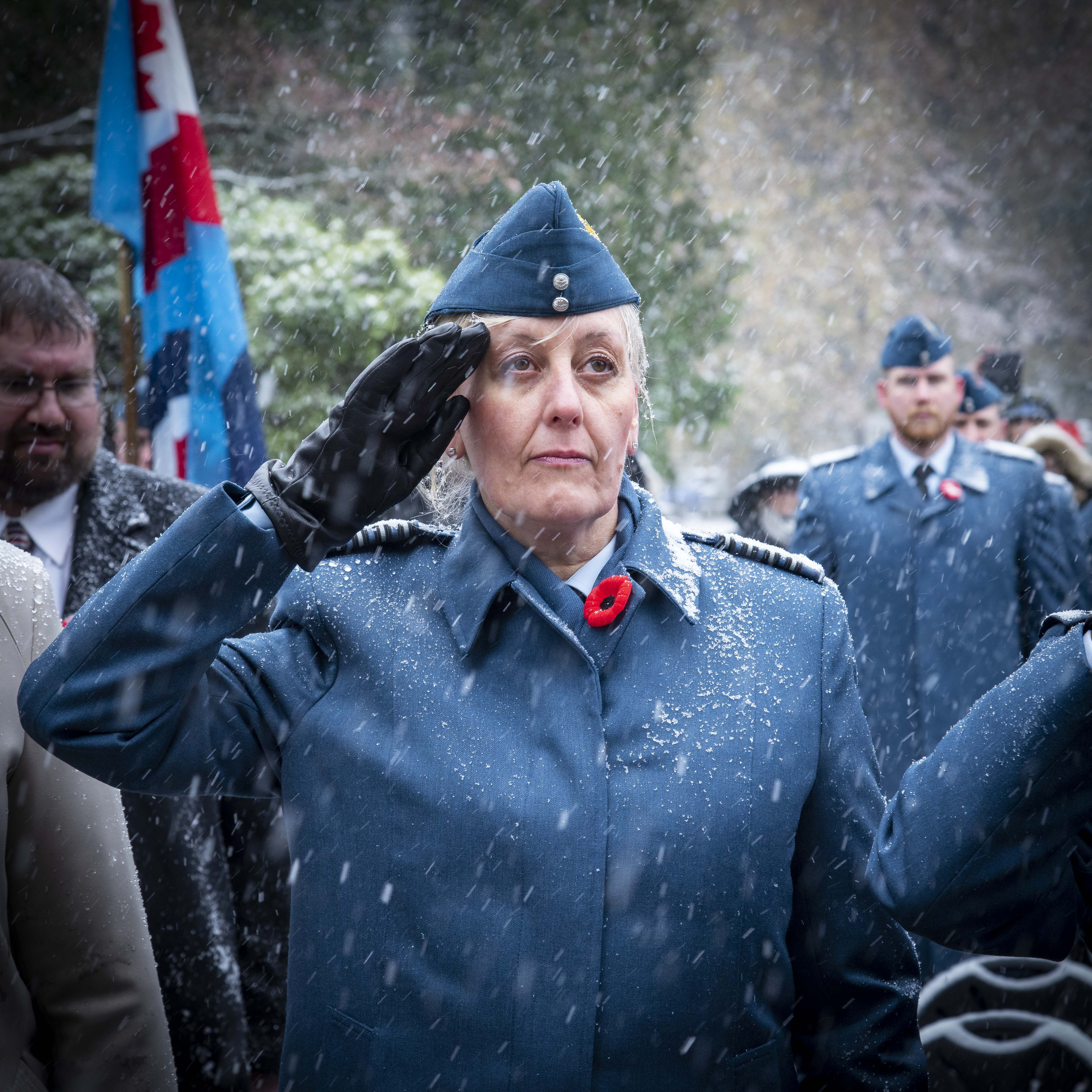 16 Wing's Honorary Colonel Renee van Kessel salutes during the 2019 Remembrance Day ceremony held at the mausoleum where Wing Commander William Barker, VC, is interred in Mount Pleasant Cemetery, Toronto. PHOTO: Corporal Lynette Ai Dang, BM10-2019-0359-024