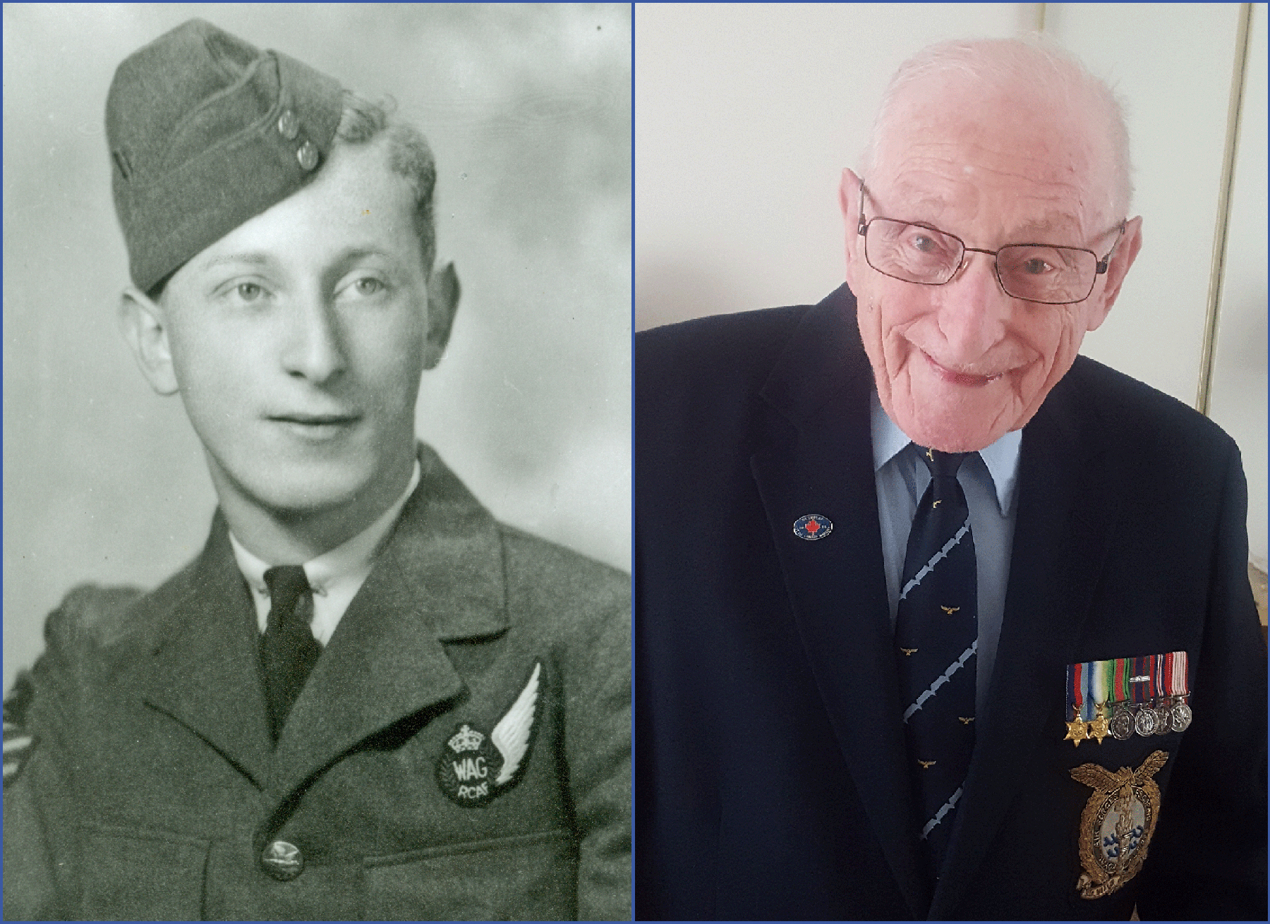Flight Sergeant Harvey Firestone, then and now. He is the sole living survivor of the Norway crash. PHOTOS: Submitted