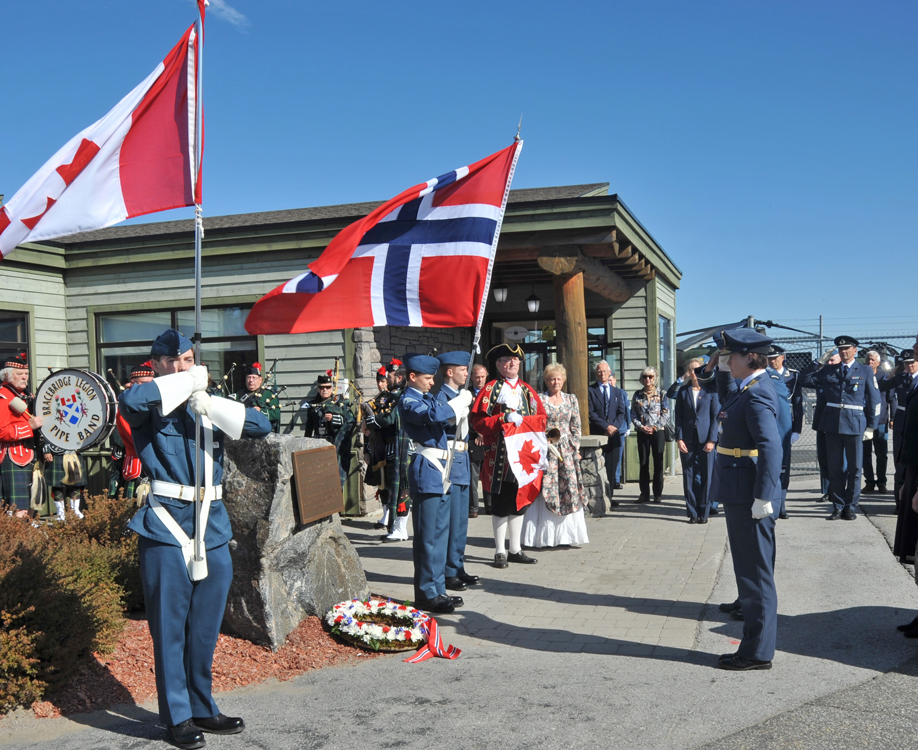 On October 11, 2019, a wreath-laying ceremony is held at Muskoka Airport as part of celebrations marking the 75th anniversary of the Royal Norwegian Air Force. PHOTO: Lieutenant Nora Amrane