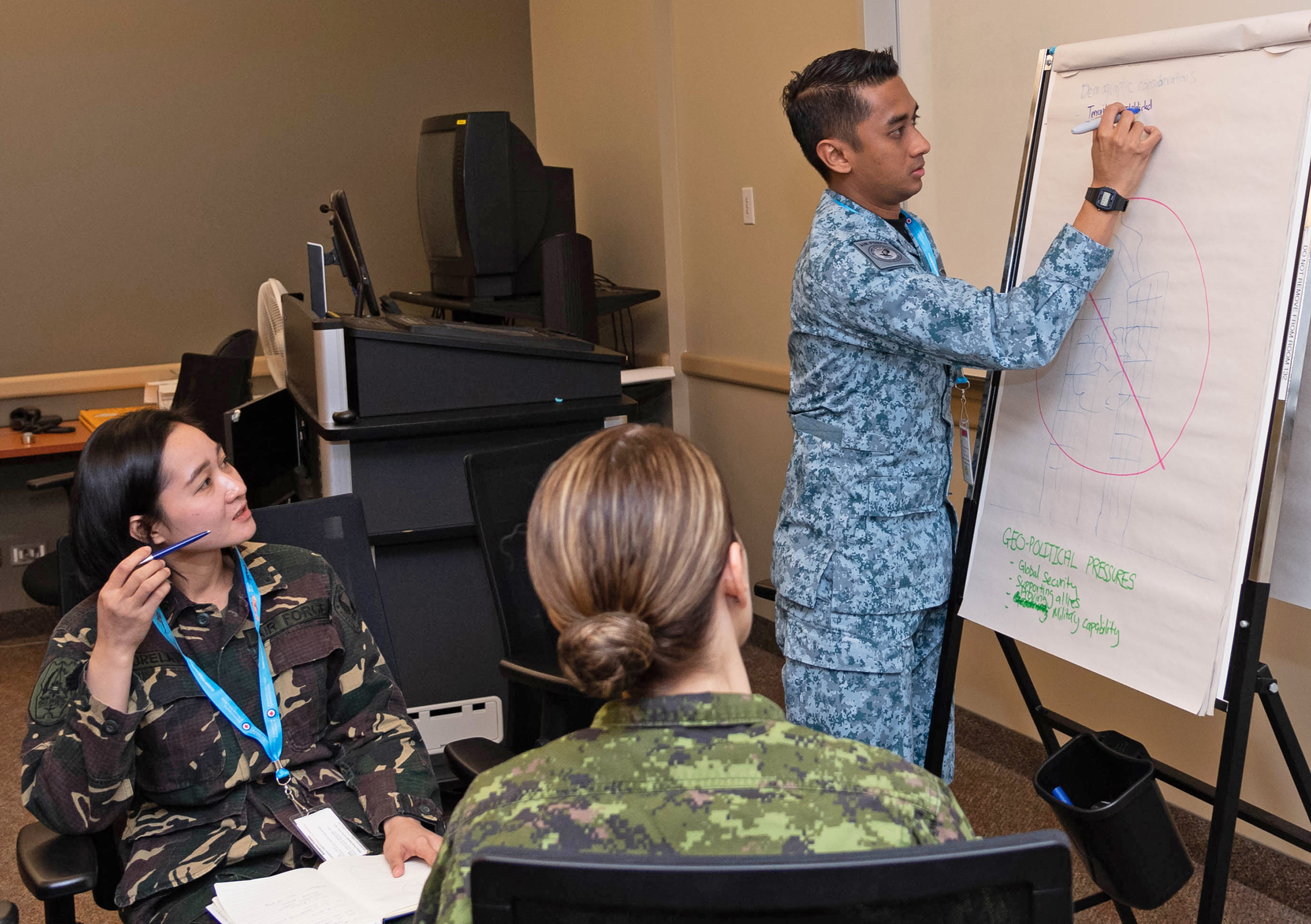 International participants in the Junior Enlisted Leadership Forum, held at 17 Wing Winnipeg, Manitoba, from October 21 to 25, 2019, work on a problem together. PHOTO: Corporal Brian Lindgren, WG2019-0525-026