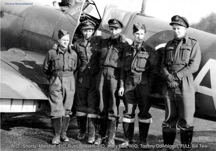"From left: Warrant Officer ""Shorty"" Marshall, Flying Officer Russ Bouskill, Flying Officer Jerry Bell, Warrant Officer Tommy Dowbiggin and Flight Lieutenant  Bill Tew. PHOTO: Courtesy the ""Aircrew Remembered"" website"