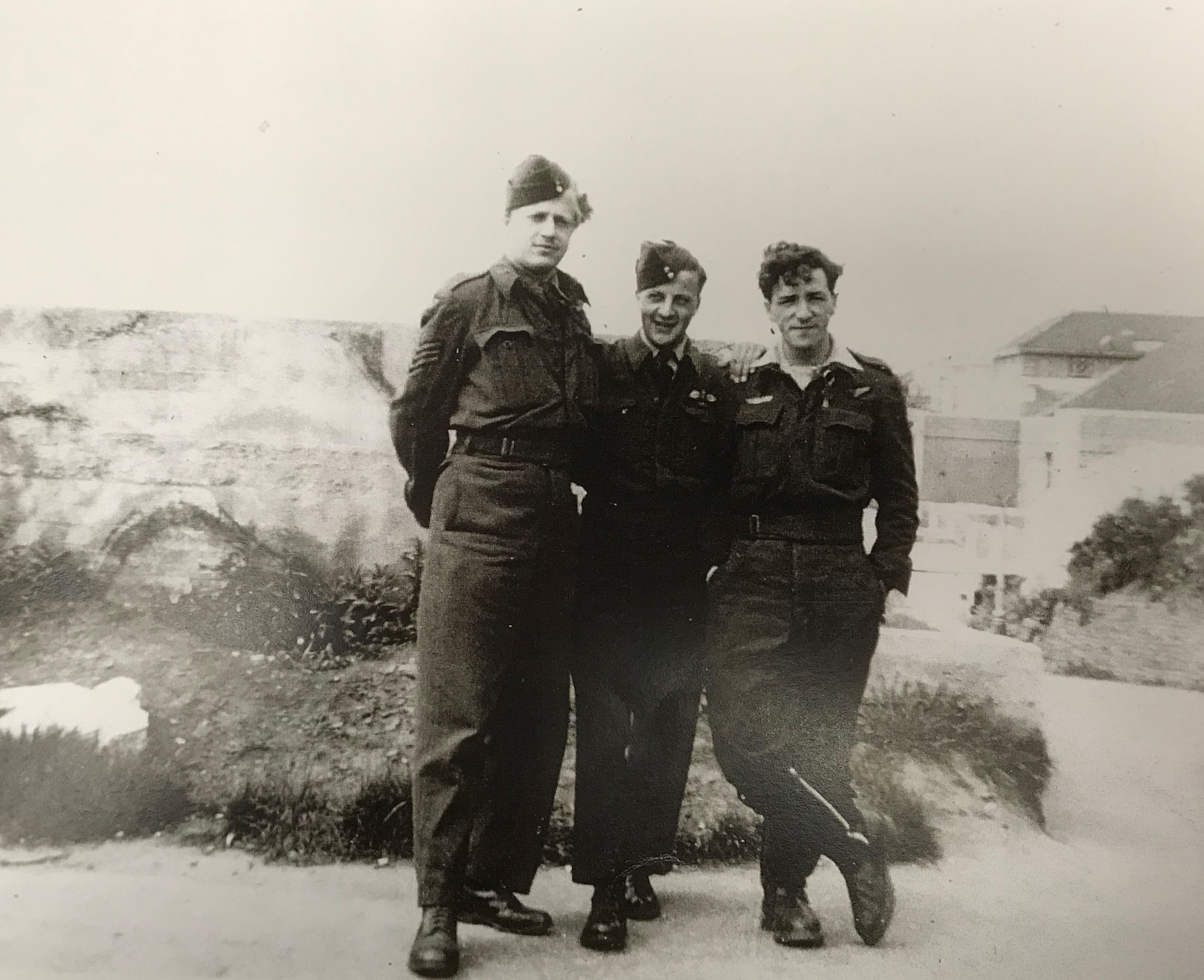 "Flight Sergeant Jean Cauchy (left) in Bournemouth on May 14, 1945, the day after his liberation from Stalag Luft I. He wrote on the back ""Needed: New battle dress, haircut, shower, etc"". PHOTO: Courtesy Jean Cauchy"
