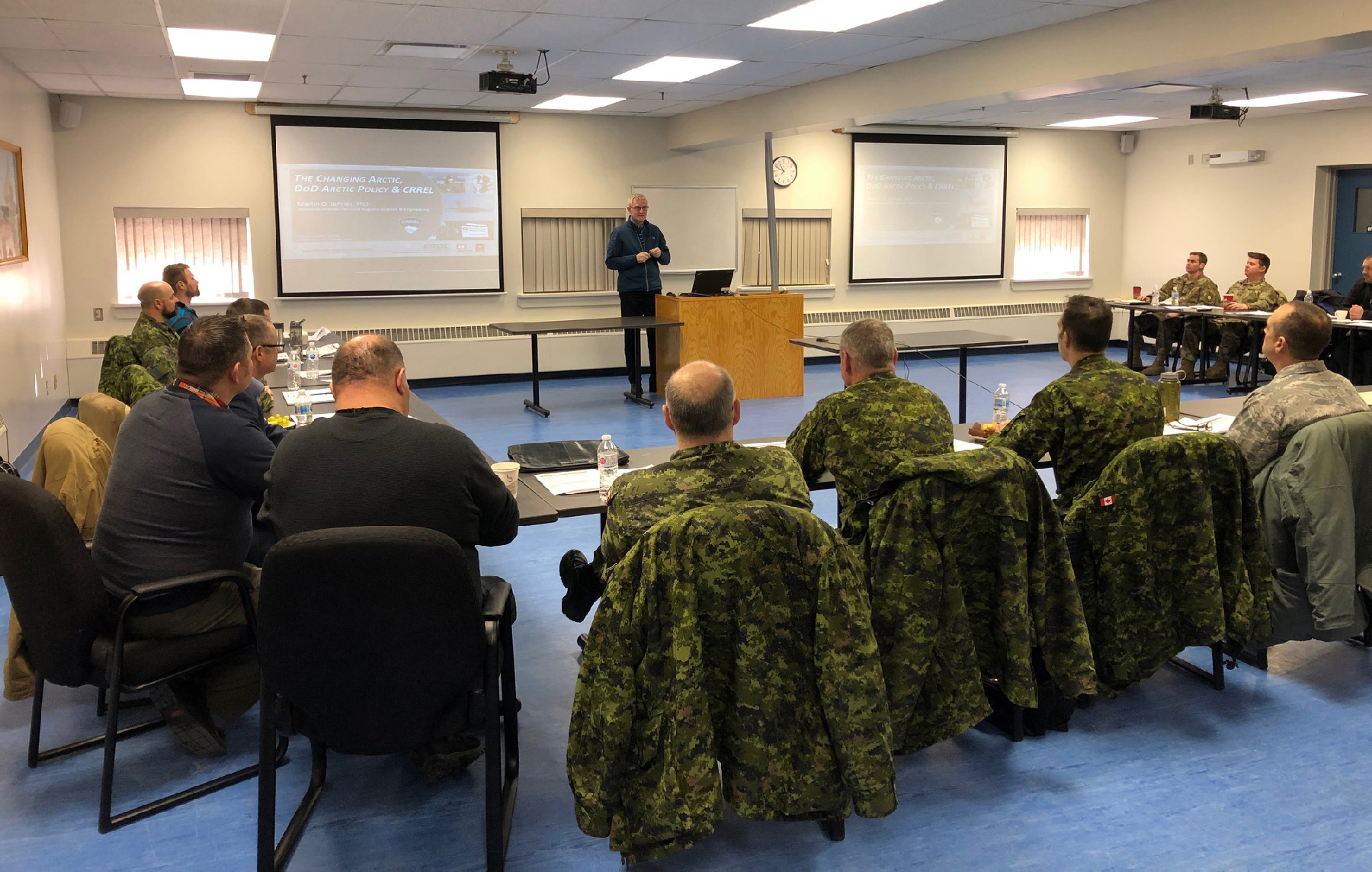Dr. Martin Jeffries, from the Cold Regions Research and Engineering Laboratory, presents some of his research and observations to members of the Arctic Air Power Seminar, (3rd edition), at 5 Wing Goose Bay, Newfoundland and Labrador on January 21, 2020. PHOTO: Submitted
