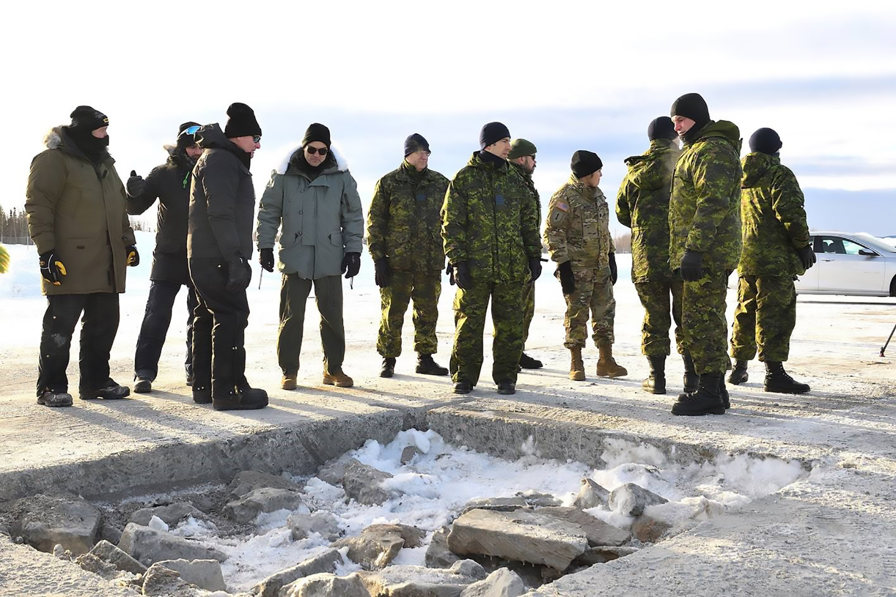 Members of the Arctic Air Power Seminar, (3rd edition), visit the Cold Rapid Airfield Damage Repair test and evaluation at 5 Wing Goose Bay, Newfoundland and Labrador on January 22, 2020. PHOTO: Submitted