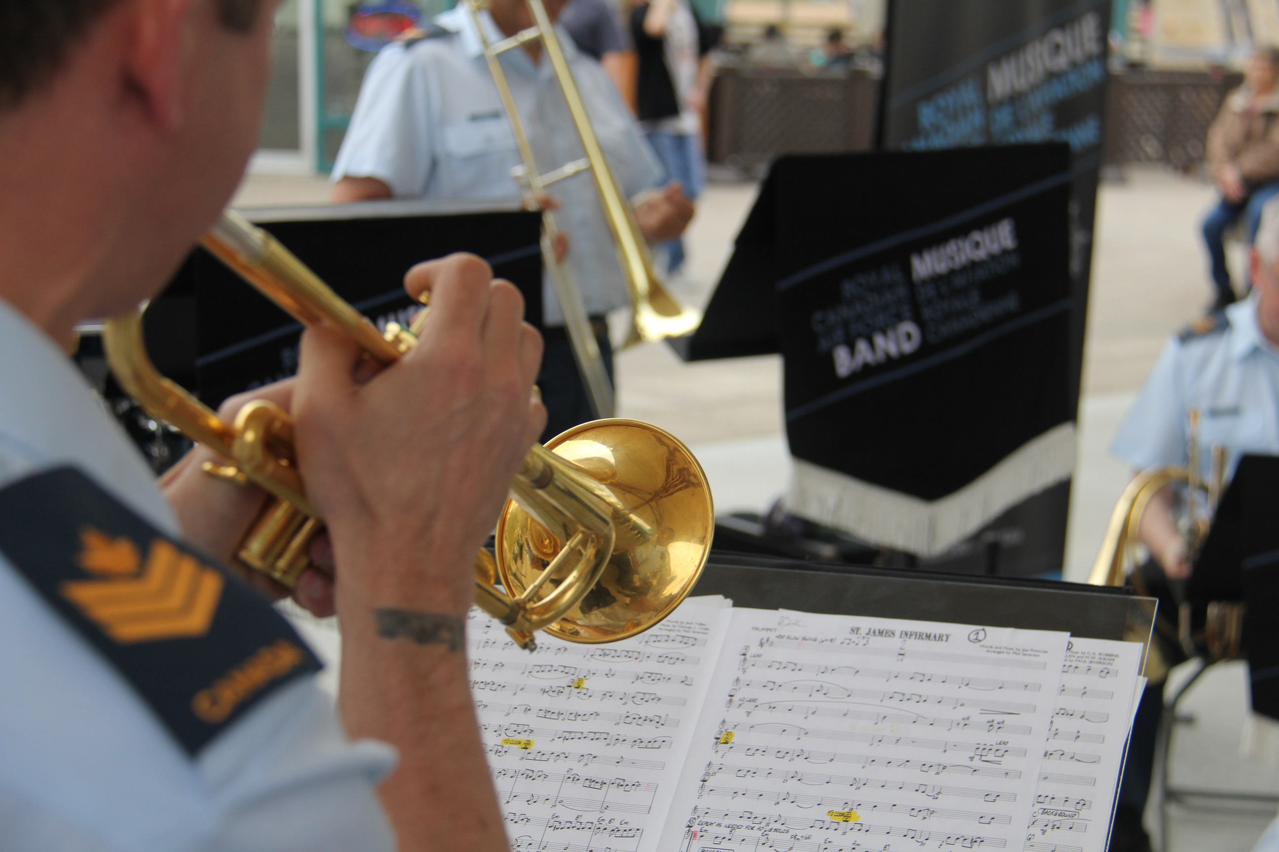 The Dixieland Band performs at the Forks for an RCAF Run promotional event.