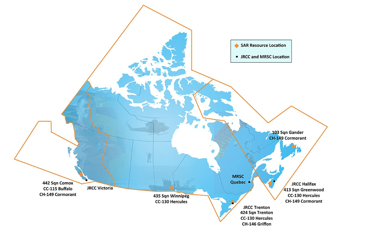 Search Canada Map Search and Rescue | Royal Canadian Air Force