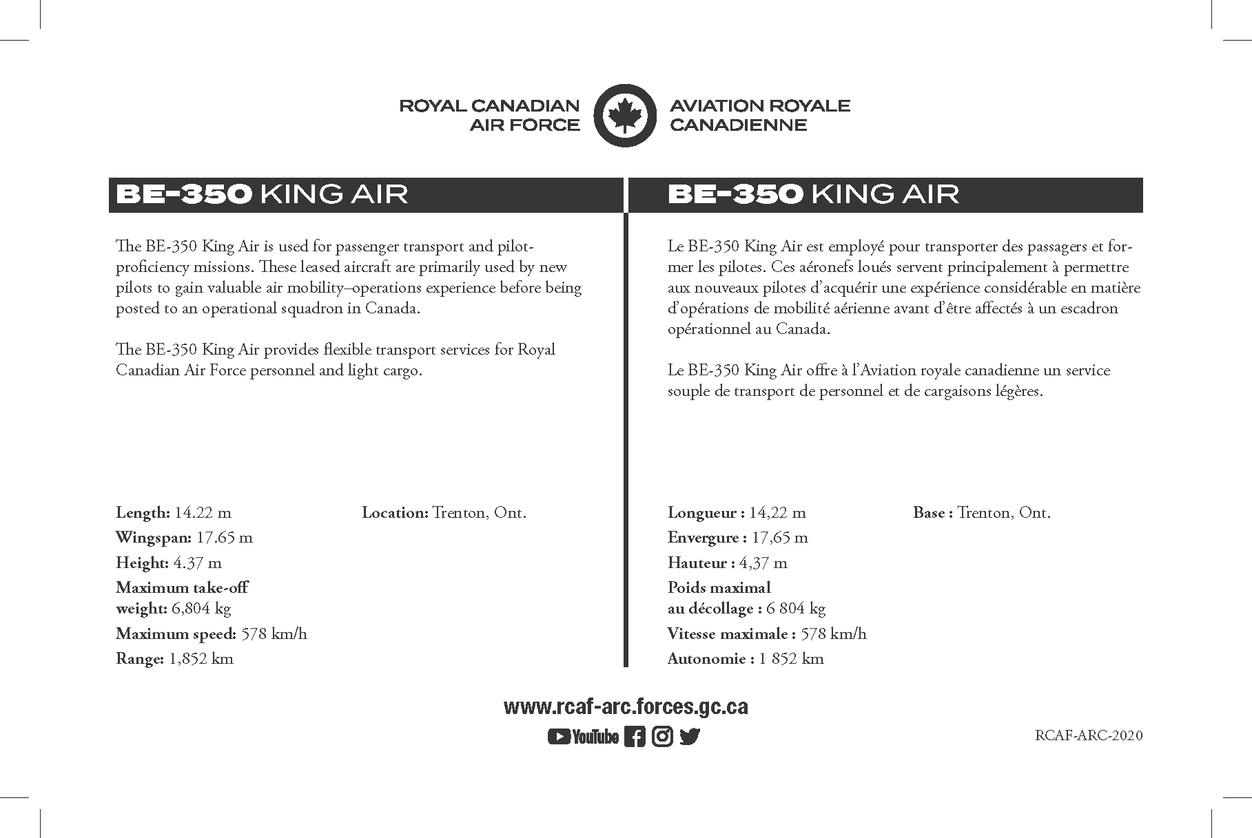 BE-350 King Air fact sheet details