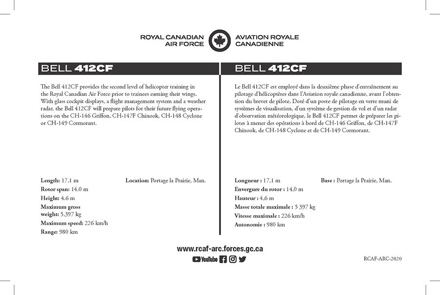 Fact sheet details for the Bell 412CF