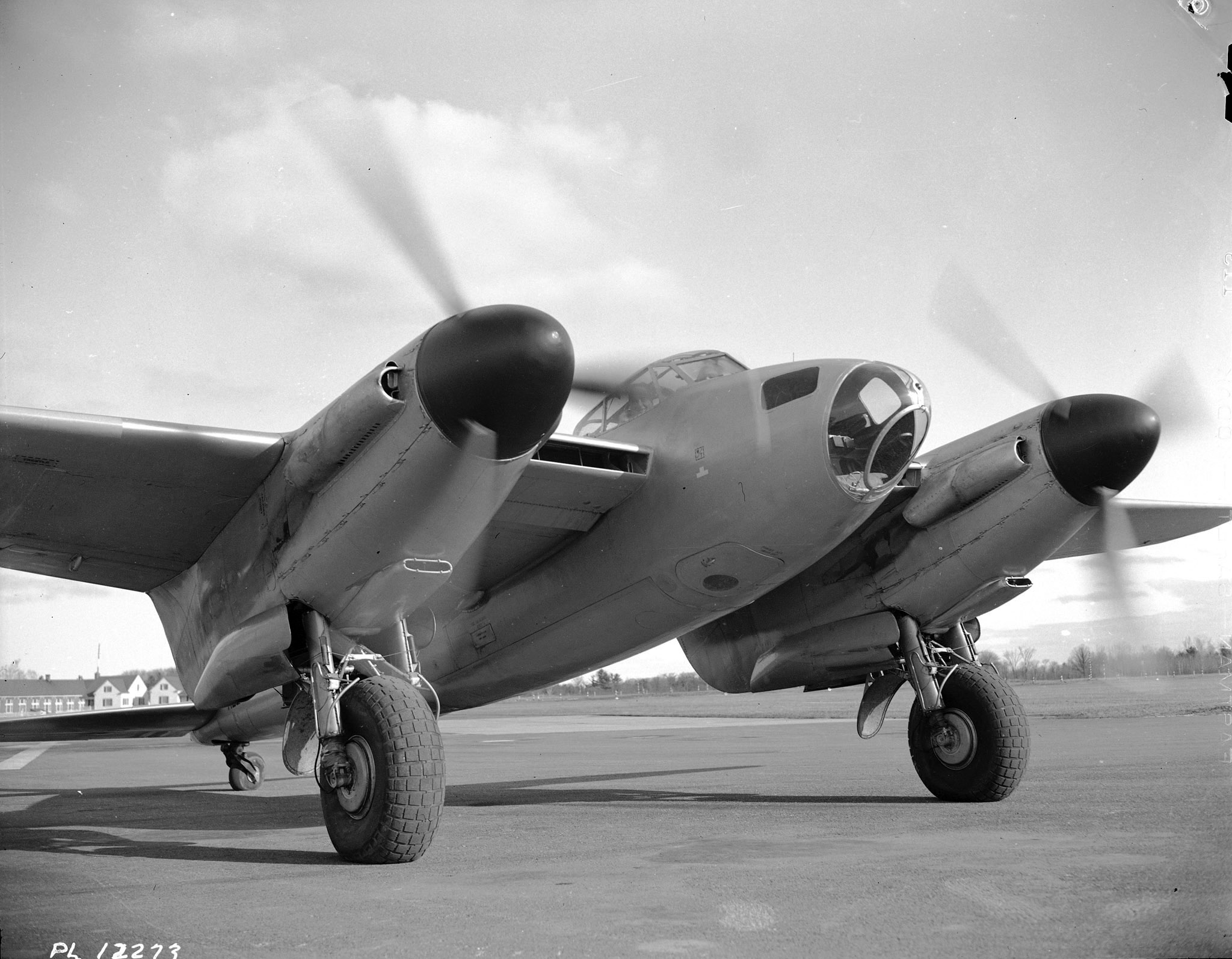 A Mosquito photographed at No. 2 Service Flying Training School in Uplands (near Ottawa), Ontario, on November 21, 1942. PHOTO: DND Archives, PL-12273