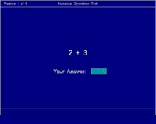Numerical Operations Test: This is a reasoning test designed to assess your ability to work out mental arithmetic problems. You will have to: a. Do mental calculation using addition, subtraction, multiplication and division.  b. Work quickly and accurately. The total test time including instructions is approximately 2 minutes and you can prepare for this test by practising your mental arithmetic.
