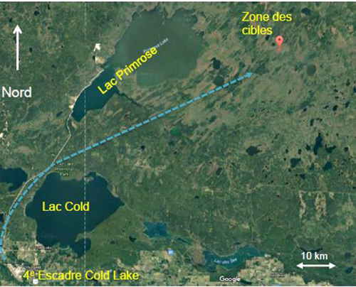 Figure 1: Cold Lake and CLAWR with Swift Flight transit route depicted.