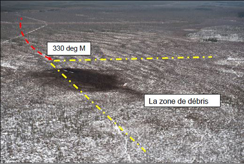 Figure 4: Aerial view of the crash site – (Red arrow depicts flight path direction).