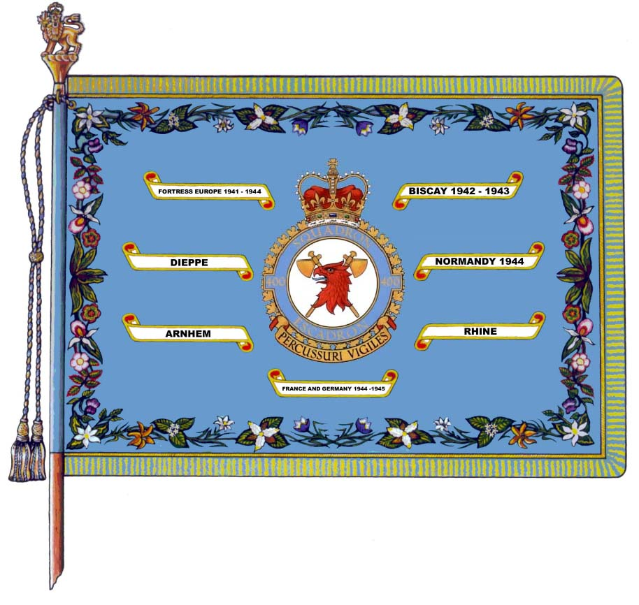 400 Air Maintenance Squadron's major Battle Honours are embroidered on the squadron's Standard (Colour).