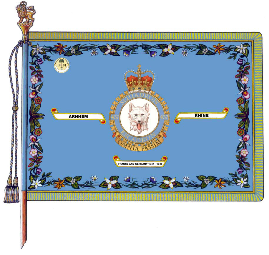 437 Transport Squadron's major Battle Honours are embroidered on the squadron's Standard (Colour). The Gulf War honorary distinction is emblazoned on the upper left corner of the standard.