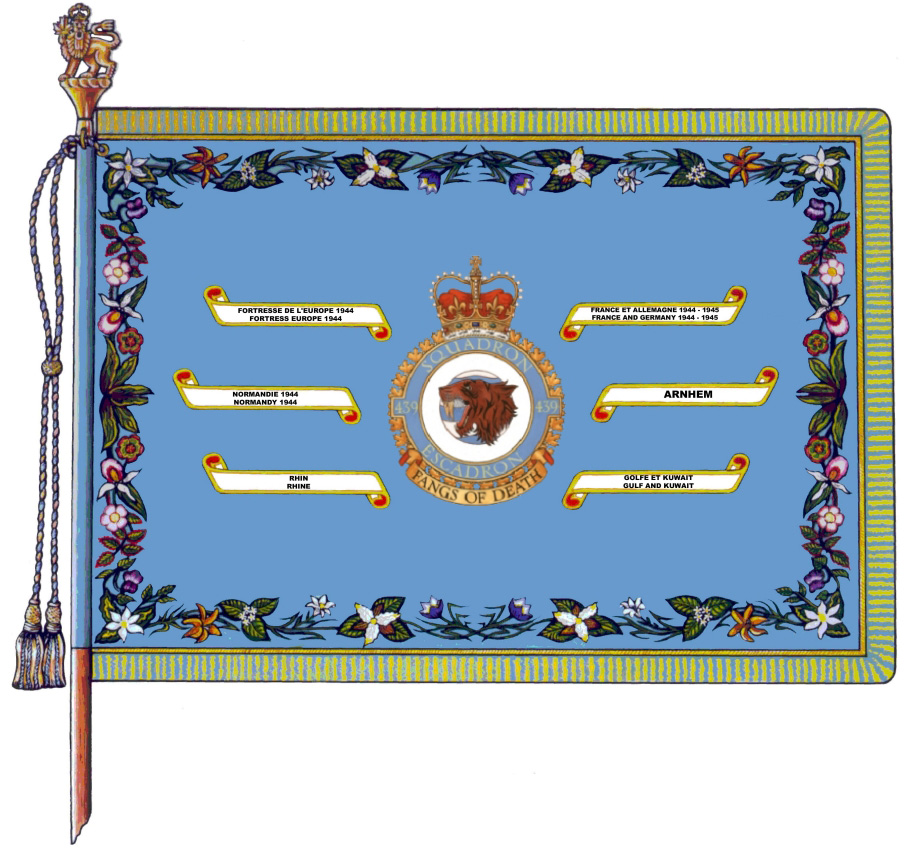 439 Combat Support Squadron's major Battle Honours are embroidered on the squadron's Standard (Colour), including the GULF AND KUWAIT Battle Honour.