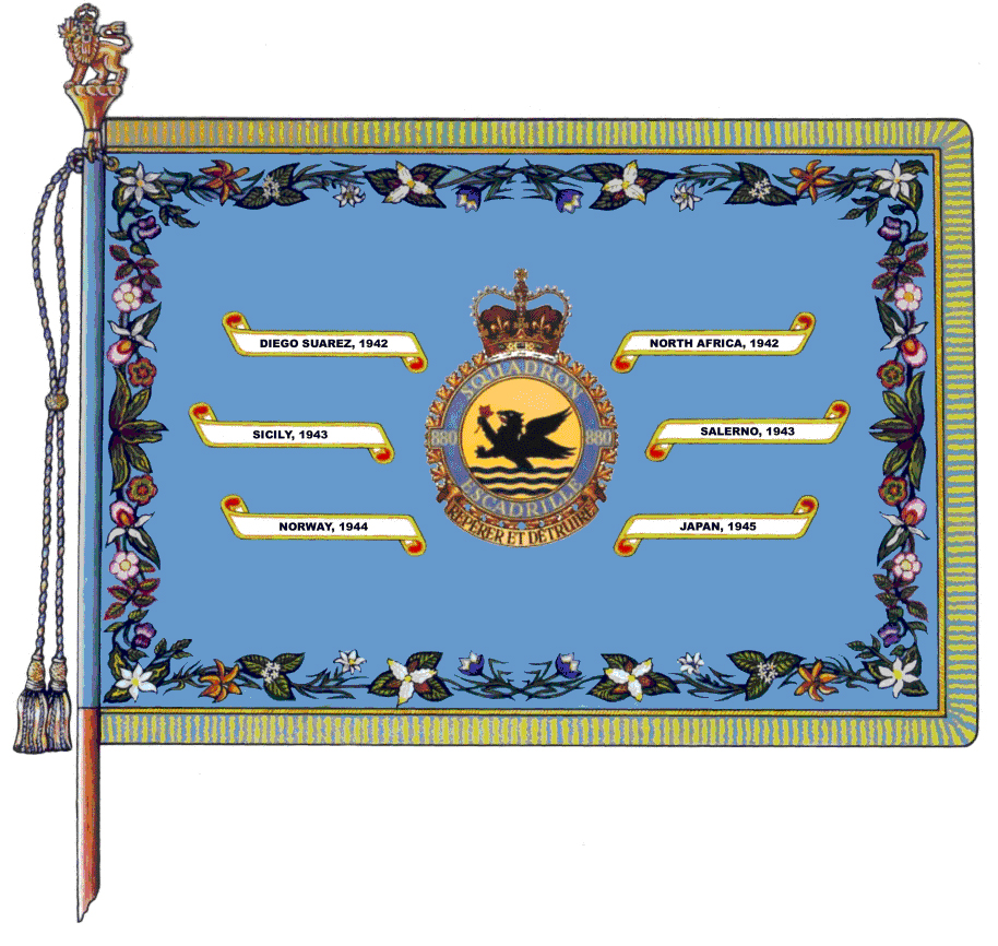 880 Maritime Reconnaissance Squadron's major Battle Honours are emblazoned on its squadron Standard (Colour). The squadron was reduced to nil strength between March 9 and September 1, 1990.