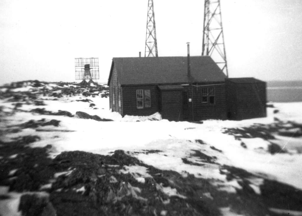 The weather station at Cape Bauld, Newfoundland, showing the radar and radio shack, during the war. PHOTO: courtesy Bill Lloyd.