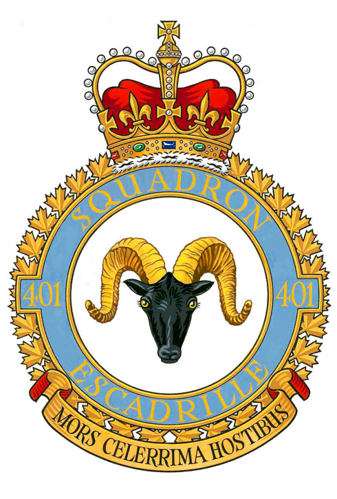 401 Tactical Fighter Squadron. Badge description: Argent a rocky mountain sheep head Sable horned Or caboshed. The mountain sheep, indigenous to many parts of Canada, is known for its great stamina and fighting power.  Motto: MORS CELERRIMA HOSTIBUS (Very swift death for the enemy)