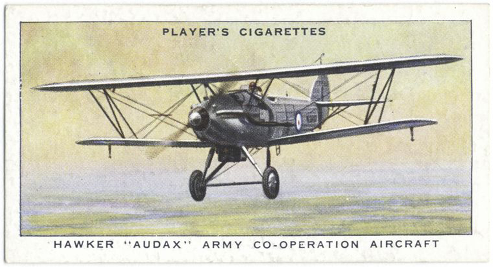"The obverse of one of the ""Aircraft of the Royal Air Force"" series of cards included in packages of John Player & Sons cigarettes – this one depicting a Hawker Audax aircraft in flight. IMAGE: New York Public Library"