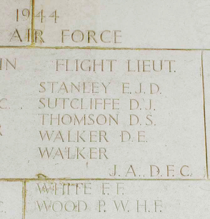 Column 432 of the Singapore Memorial commemorates Flight Lieutenant James Arthur Walker, DFC, from Gleichen, Alberta. The Memorial is located in Kranji War Cemetery, 14 miles north of the city of Singapore, Malaya. PHOTO: Courtesy of Jonathan Morford and Captain Robert L. Koprowski, U.S. Army (Ret).