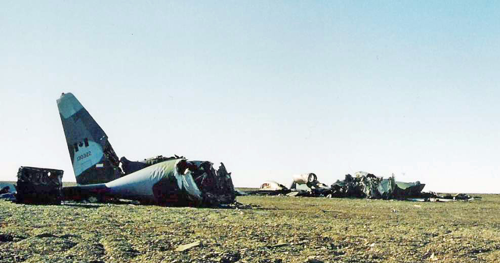 The crashed Boxtop 22 Hercules aircraft rests on the Arctic tundra to this day PHOTO: Jill St. Marseille