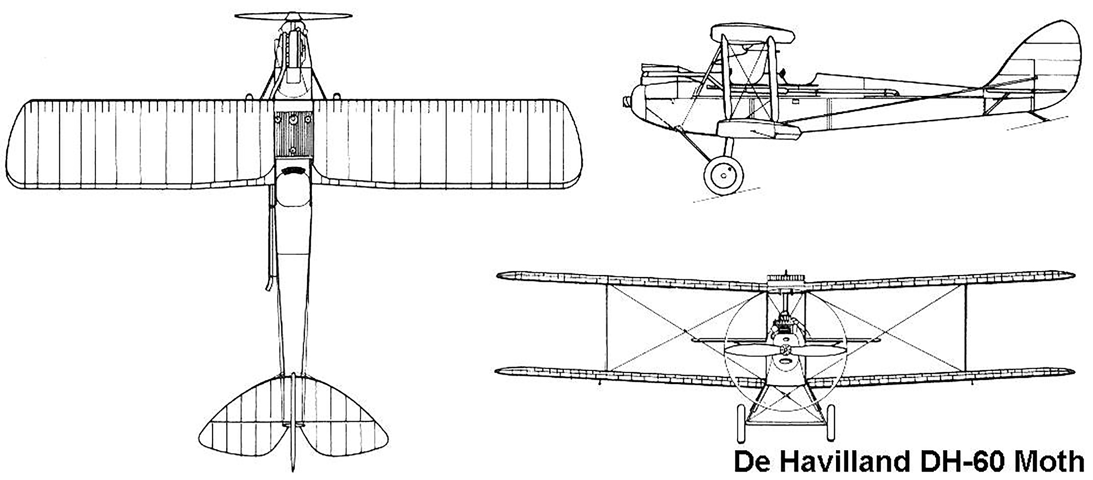 Three profiles of the de Havilland DH60 Gipsy Moth trainer aircraft. IMAGE: Wikipedia