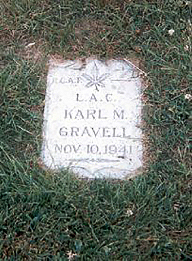 Leading Aircraftman Karl Gravell's grave is located in Mountain View Cemetery in Vancouver, British Columbia. PHOTO: Herbert Rickards (www.findagrave.com)
