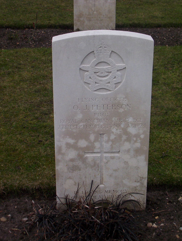 Flying Officer Otto John Peterson's grave marker in Brookwood Military Cemetery, Surrey, England. PHOTO: Courtesy of Commonwealth War Graves Commission