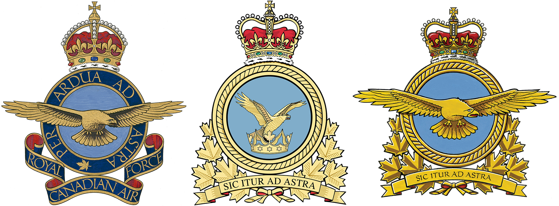 A single image of portions of three air force badges, all portraying an eagle at their centre.