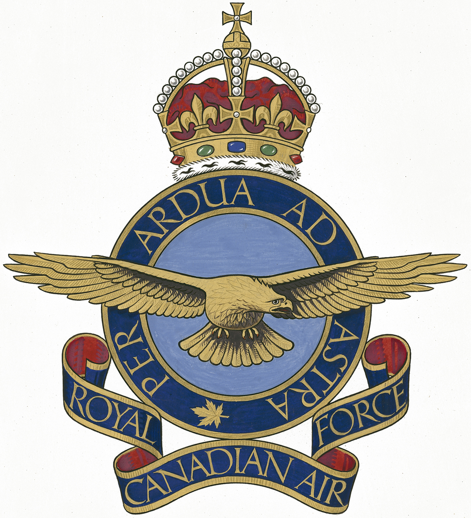 L'insigne original de l'Aviation royale du Canada, sur lequel on peut lire la devise empruntée à la Royal Air Force : « Per ardua ad astra » (« À travers les embûches jusqu'aux étoiles »). IMAGE : MDN