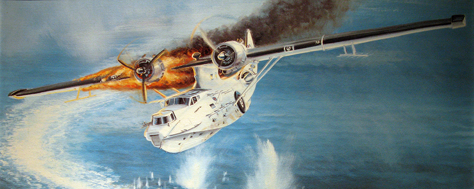 slide - A painting of a large white aircraft with an engine on fire flying above a submarine.