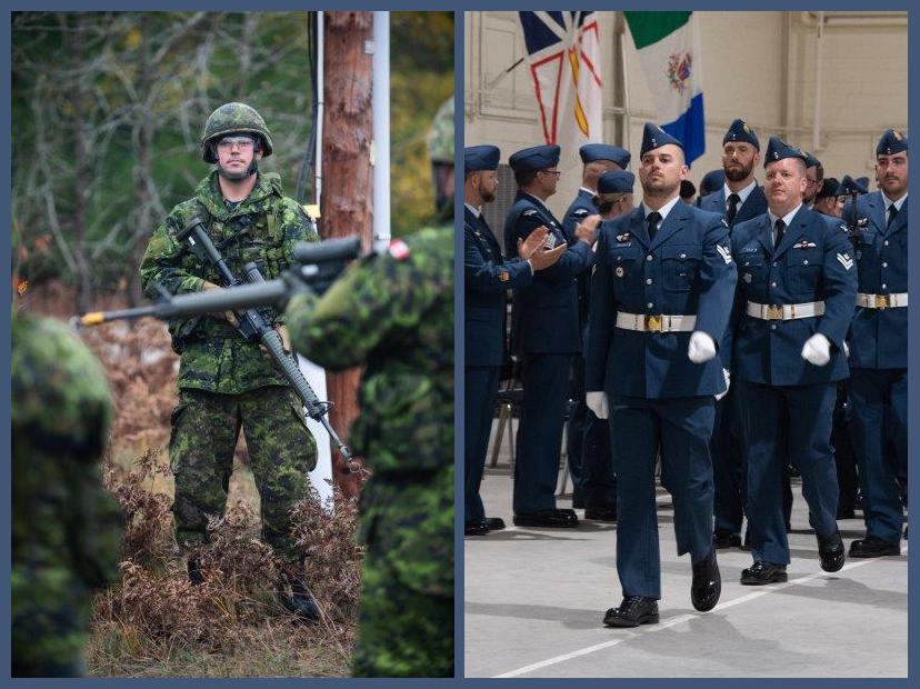 A composite of two images. One shows a person wearing a disruptive pattern combat uniform and helmet, carrying a rifle. The other shows the same person wearing an air force dress uniform marching in a military parade.