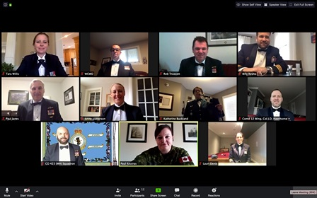 Warrant Officer Tina Koutras, bottom centre, coordinates a Facebook Live via Zoom 12 Wing Town Hall broadcast to personnel. The Command Team and the other participants wear mess kit for a virtual RCAF Day Mess Dinner at the end of the town hall on April 1, 2020, inviting members to toast the organization with them. PHOTOS: Ordinary Seaman Melissa Gonzalez