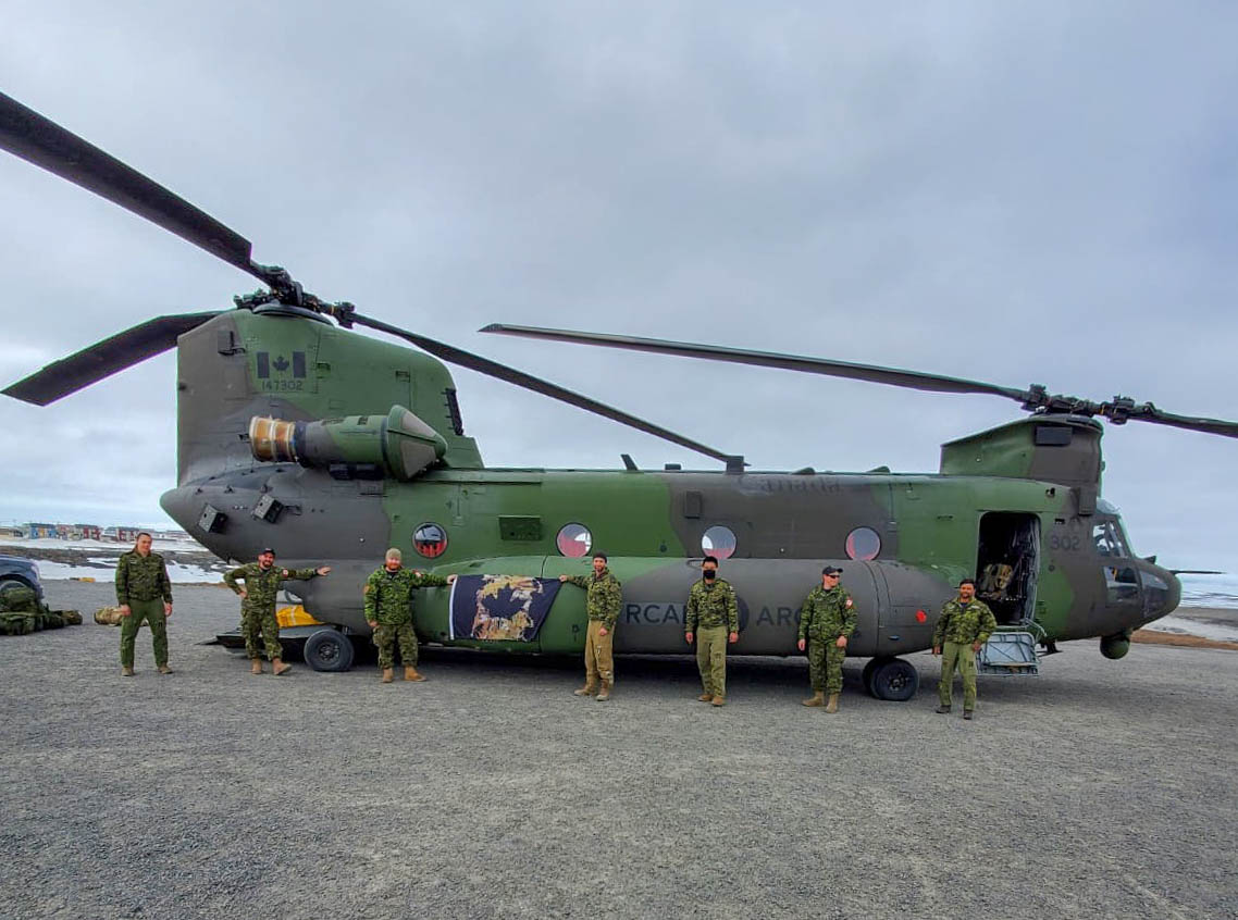 The crew of RESCUE 302 in Puvirnituq, Quebec prior to departing for Petawawa, Ontario. PHOTO: Corporal Justin Critchley