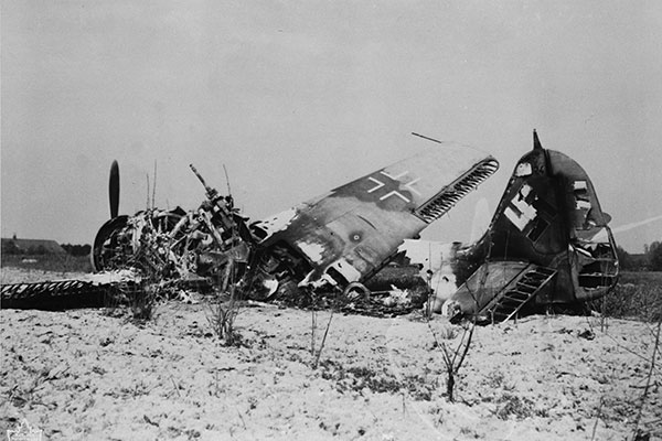 a downed enemy aircraft in southern England