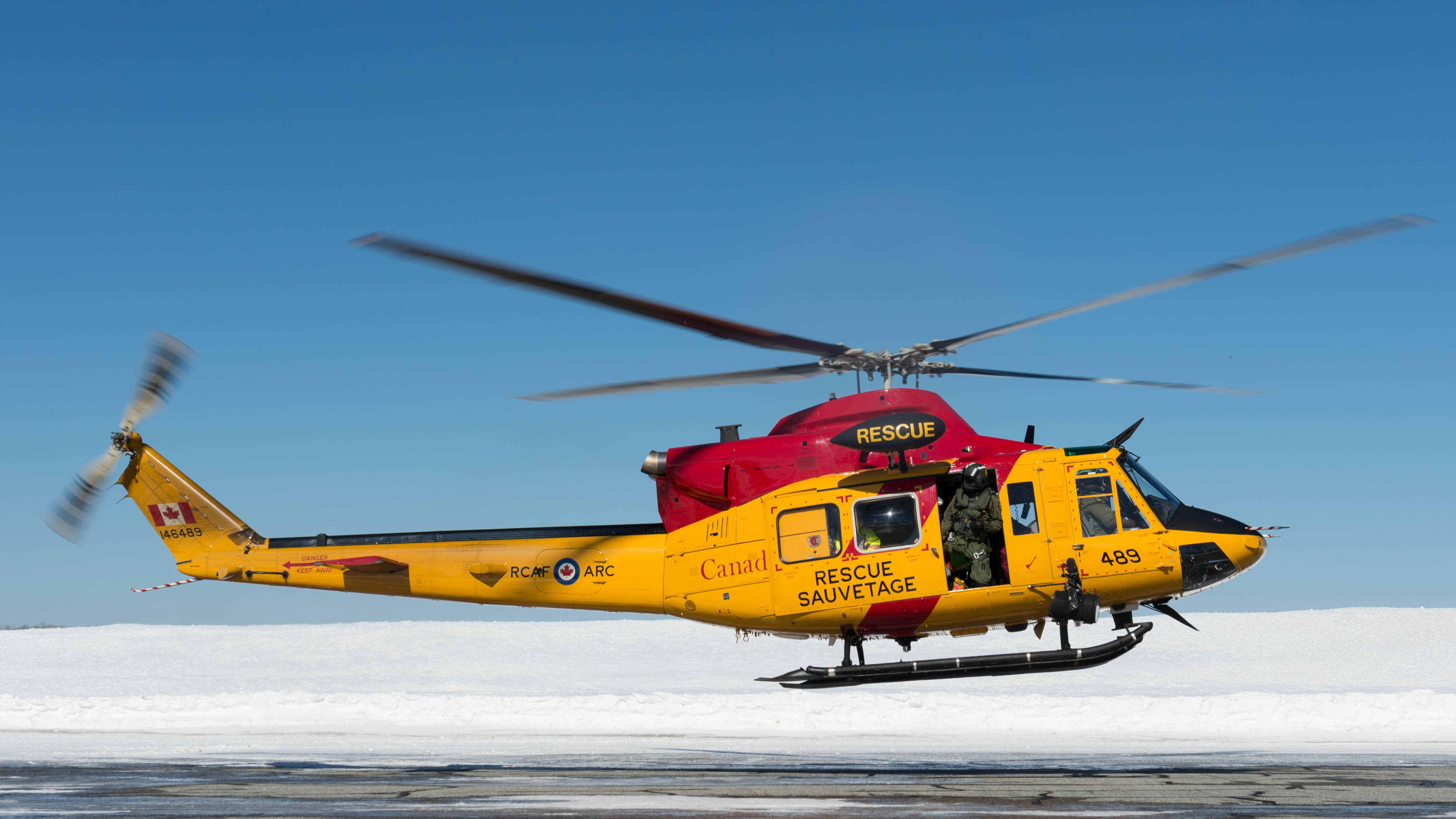 A search and rescue CH-146 Griffon helicopter takes off to participate in a search in the Timmins, Ontario, region on March 9, 2019. PHOTO: Corporal Zebulon Salmaniw