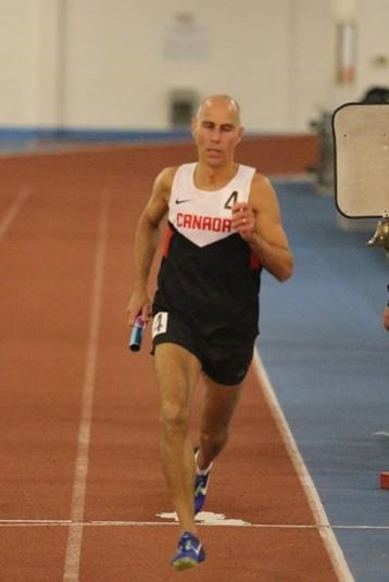 "CWO Claude Faucher at the 2018 Canadian Masters Athletics championships, running a new 4 X 400m M50 relay Canadian record.  PHOTO: Doug ""Shaggy"" Smith"